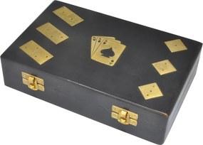 Caixa CASSINO de jogos madeira preta 22cm Ilunato MEI0003