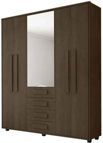 Guarda-Roupa Casal com Espelho 5 Portas 3 Gavetas Las Vegas III Noce - RV Móveis