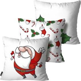 Kit 3 Almofadas Mdecore de Natal Decorativas Branco 55x55