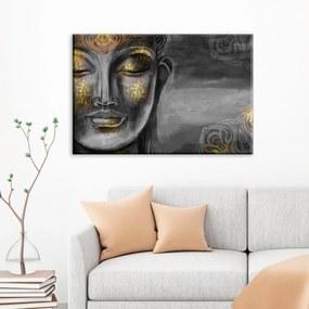 Tela Decorativa Buda Cinza com Dourado Grande Love Decor