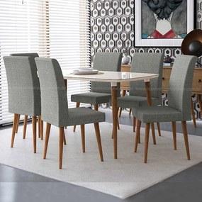 Conjunto Mesa Para Sala De Jantar Retrô 170 X 90 Com 6 Cadeiras Jade Rv Móveis - Off White/cinza