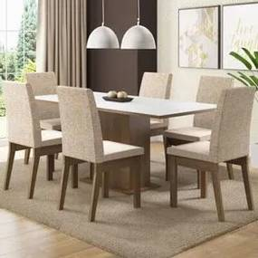 Conjunto Sala de Jantar Madesa Cecília Mesa Tampo de Madeira com 6 Cadeiras Rustic/Branco/Fendi Cor:Rustic/Branco/Fendi