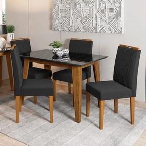 Kit Mesa de Jantar Jade 04 cadeiras 120 cm Tampo de Vidro MDF  - Megasul - Preto