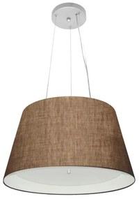 Lustre Pendente Cone Md-4119 Cúpula Forrada em Tecido 21/40x30cm Café / Branco - Bivolt