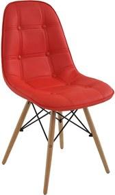 Cadeira Decorativa Sala e Escritório Cadenna (PU) Vermelha - Gran Belo