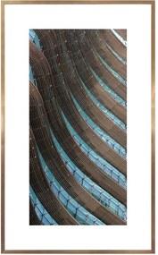 Quadro Moderno Arquitetura Com Detalhes Azuis 60x100 Cm