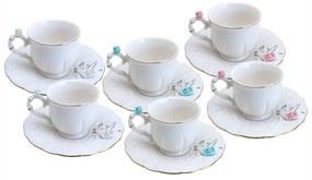 Jogo Xícaras Café Porcelana 6 Peças Flower Round Plate Colorido 100ml 35472 Wolff