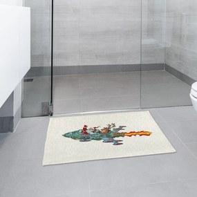 Tapete de Pano Para Banheiro Papai Noel de Foguete Único