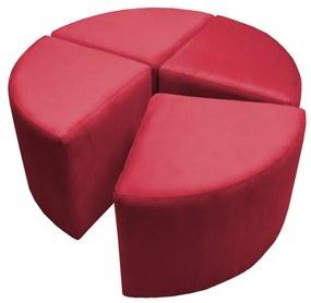 Puff Decorativo Acoplável 04 Lugares Puzzle Suede Vermelho
