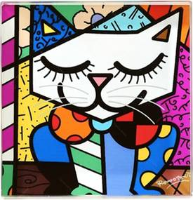 Peso Papel Quadrado - Gato Colorido em Vidro - Romero Britto - 8x8 cm