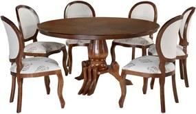 Conjunto Sala de Jantar Mesa Andria com 6 Cadeiras Medalhão Liso - Wood Prime 31882
