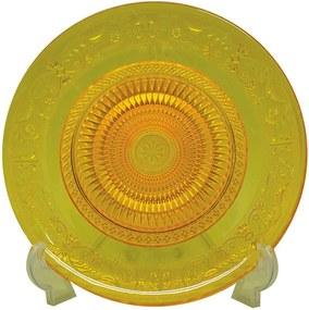 Centro de Mesa Fine Decor Amarelo em Vidro - Urban - 29x2 cm