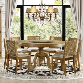 Mesa de Jantar Mariah Oregon Prato Giratório 160cm com 08 Cadeiras Sit Linho Rústico Bege Claro - Gran Belo