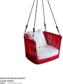 Cadeira de Balanço Malta Alumínio e Corda Náutica