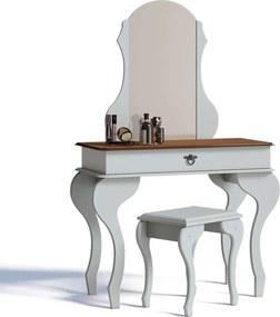 Penteadeira Com Espelho E Banqueta Lilly Imcal Branco/freijó