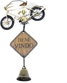 Enfeite Metal Minas de Presentes Bibicleta Bege
