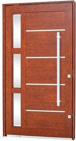 Porta Pivotante Lambris Horizontais com Friso, vidro e Puxador Alumínio Madeira 243,5x146,2x12cm Direita Aluminium - 72460111 - Sasazaki - Sasazaki