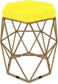 Puff Aramado Hexagonal Base de Ferro Cobre Suede Amarelo - Sheep Estofados - Amarelo