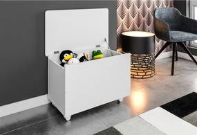 Baú Infantil Brinquedos com Rodízios BA1080 Branco Meu Fofinho