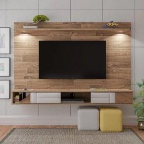 Painel Para TV até 55 Polegadas Rústico Platinum Com Espelho e Iluminação Led