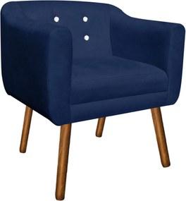 Poltrona Decorativa Julia Suede Azul Marinho com Strass - D'Rossi