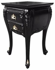 Criado Mudo Bombê Luís XV Entalhado Madeira Maciça Design de Luxo