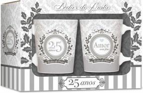 Conjunto 2 canecas - datas -  bodas de prata