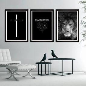 Quadro Oppen House  Moldura Jesus Cristo Leão de Judá Crus Deus é Bom Abstrato com Frases Coroa de Espinhos Por Amor Decorativo Interiores