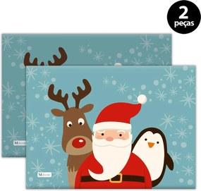 Jogo Americano Mdecore Natal Papai Noel 40x28 cm Azul 2pçs
