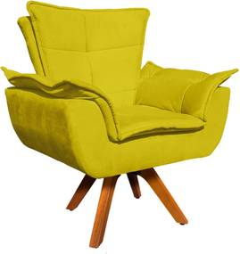 Poltrona Decorativa Giratória Gran Opala Base Madeira Suede Amarelo - D'Rossi