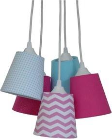 Lustre Pendente 5 Cúpulas Mix Tecidos Crie Casa Rosa e Azul