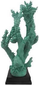 Coral Decorativo em Poliresina Verde Base Quadrada Preta