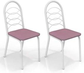 Kit com 2 Cadeiras para Copa, Branco Fosco, Salmão, Holanda III