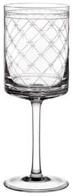 Taça de Cristal Lapidado Artesanal p/ Vinho Branco - Transparente - 13