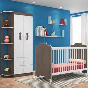 Quarto de Bebê Guarda Roupa e Berço Ternura Malbec/Branco - PN Baby