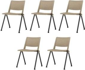 Kit 5 Cadeiras Up Assento Bege Base Fixa Preta - 57809 Sun House