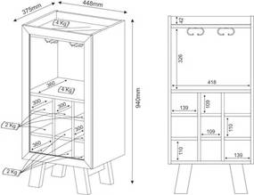 Balcão Adega 1 Porta AD5001 Branco - Tecno Mobili