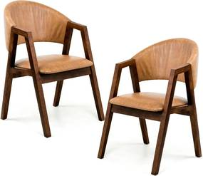 Kit 02 Cadeiras Para Sala de Jantar Cozinha Nik Canela Courino Camel - Gran Belo