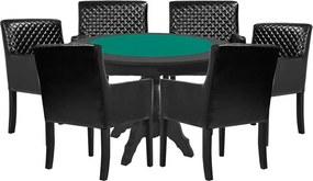 Mesa de Jogos Carteado Redonda Montreal Tampo Reversível Preto com 6 Cadeiras Liverpool Corino Preto Matelassê - Gran Belo