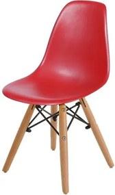 Cadeira INFANTIL Eames Polipropileno Vermelho com Base Madeira - 40605 Sun House