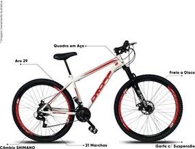 Bicicleta Aro 29 Quadro 19 Aço 21 Marchas Suspensão Freio a Disco Mecânico Branco/Vermelho - Dropp