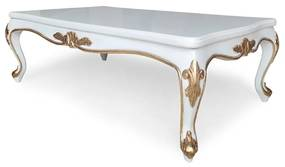 Mesa de Centro Napoleão Entalhada Madeira Maciça Design de Luxo
