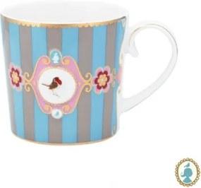 Caneca Pequena Medallion Stripes Azul e Cáqui Love Birds Pip Studio