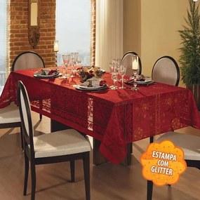 Toalha de Mesa Retangular 10 Lugares Natal Renda Vermelha Lepper