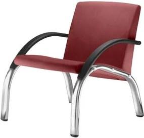 Poltrona Harmony Lounge Assento Crepe Vermelho Braco Preto e Base Cromada - 55049 Sun House