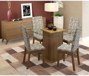 Sala de Jantar Helena Mesa com 4 Cadeiras e Buffet Rustic/Floral