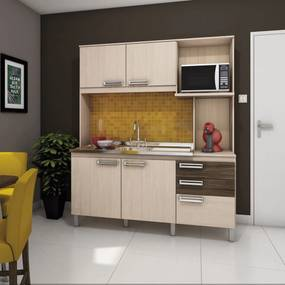 Cozinha Compacta B108-84 1600mm Fendi/Moka - Briz