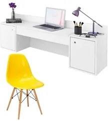 Penteadeira Camarim Atração Branco e Cadeira Charles Amarela - Albatro