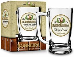 Caneca vidro 340ml sÁtiras cervejas - bohbeira