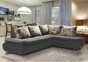 Sofá de Canto 8 Lugares Vilagio 270x196 Pillow com Almofadas Veludo Cinza - MegaSul